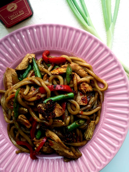 Stir Fry Chicken Udon Noodles With Chinese Chilli Oil