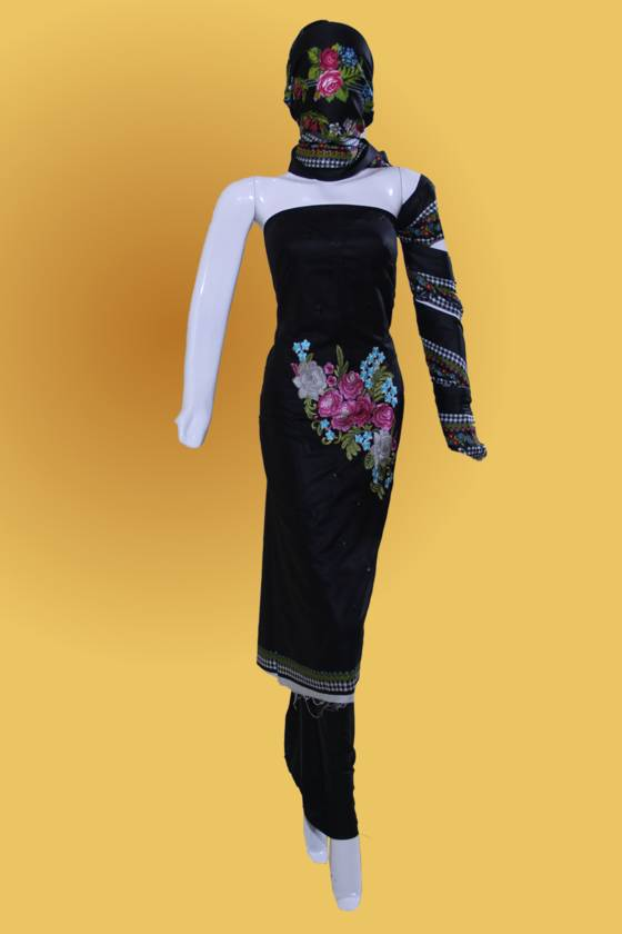 Formal 3 Piece Black Linen Unstitched Embroidery Dress & Plain Trouser
