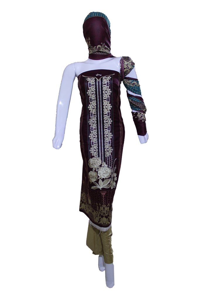 Embroidered Dress with Printed Dupatta