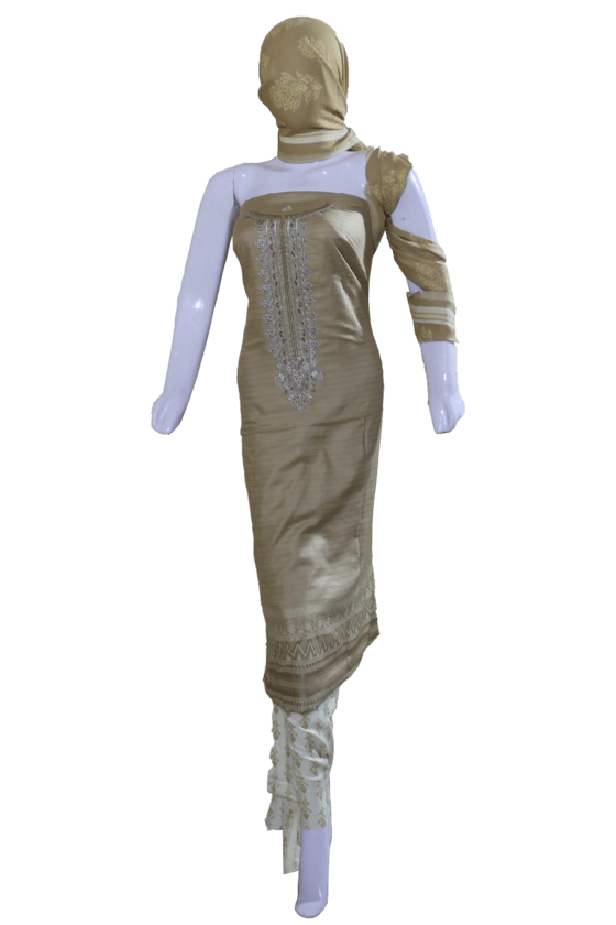 3 Piece Sandstone Linen Unstitched Embroidered Dress & Printed Trouser