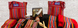 metis themed items, such as mugs, sashes, and shawls