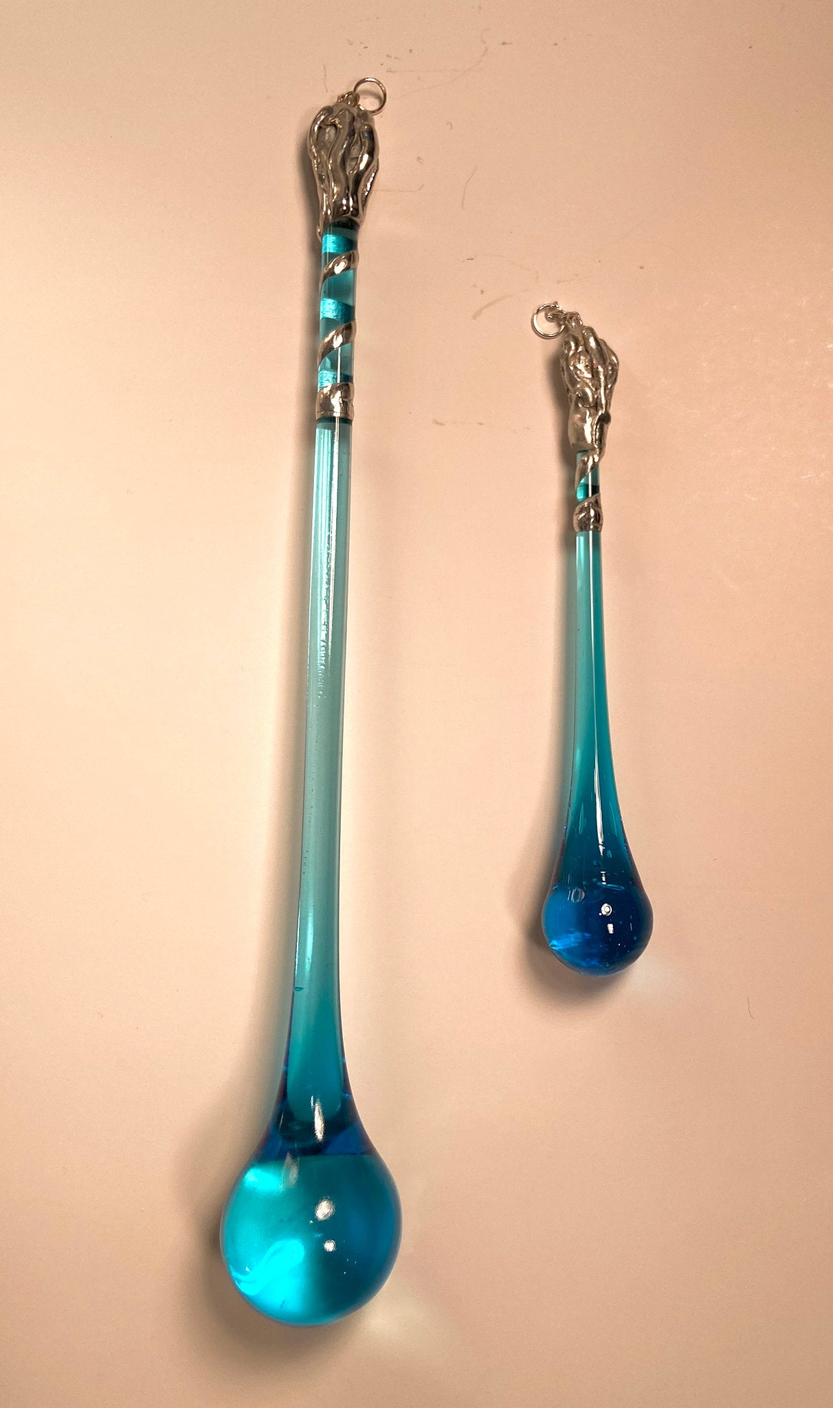 Soldered  Aqua Glass Raindrop