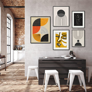 Graphic art gallery wall, set of 5 posters, contemporary modern prints