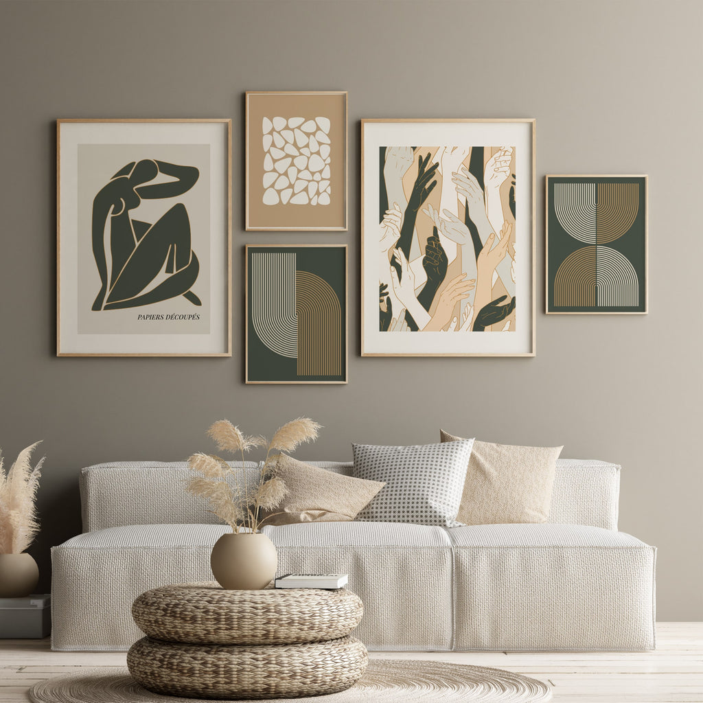 Contemporary Modern Art Gallery, Beige and Khaki colour poster set of 5, inspired by Henri Matisse, Abstract Shapes