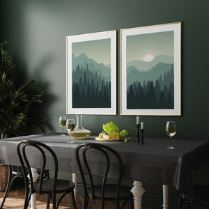 Forest print art set, nature artwork, green posters