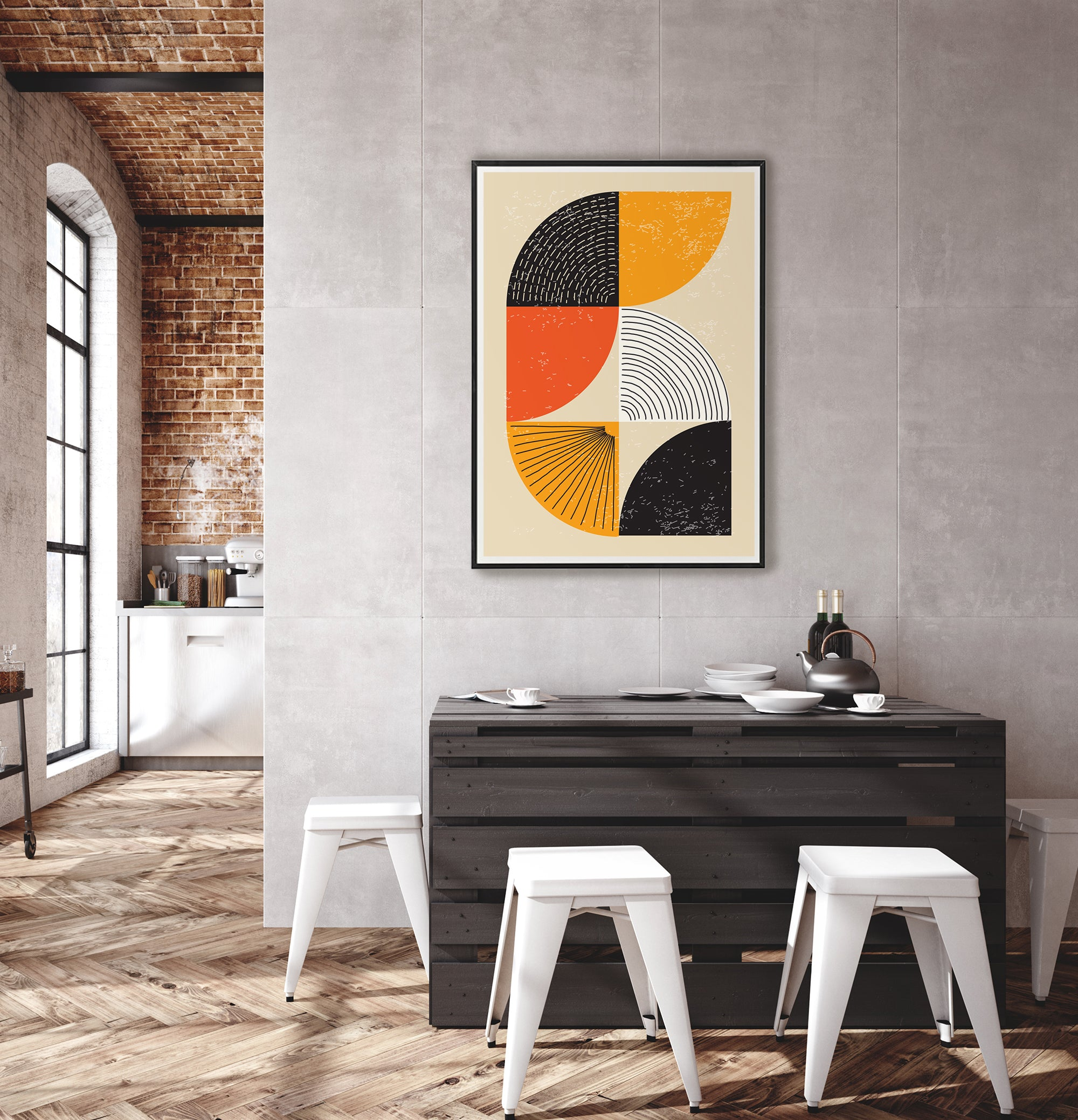 Graphic art print in modern industrial interior