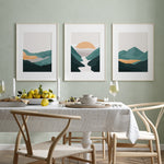 Load image into Gallery viewer, Pastel color green landscape print art set of 3 prints
