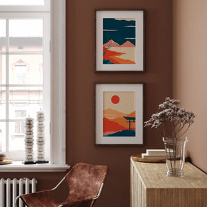 Minimalist japanese wall art vivid color dark blue and orange poster set of 2