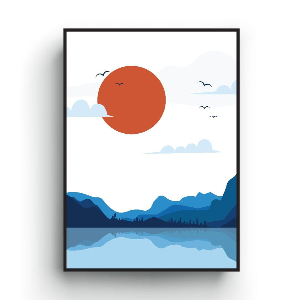Blue mountain and sun Japanese print art poster