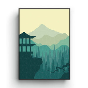Green Japanese art print, Minimalist art, vivid color