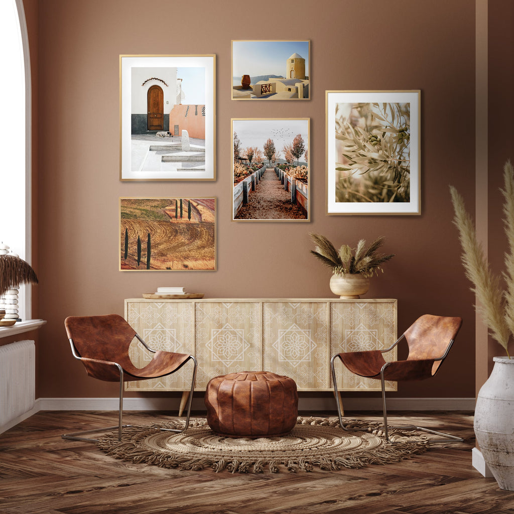 Earth tone Gallery wall, Mediterranean summer photography print set of 5 posters