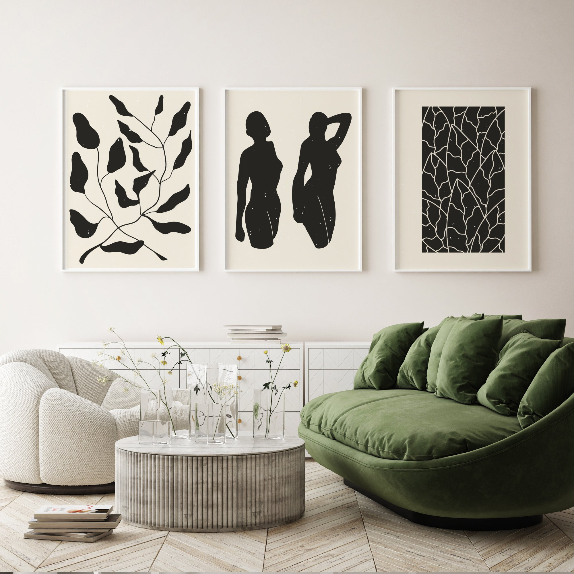 Living room wall art inspiration, minimalist black and white poster