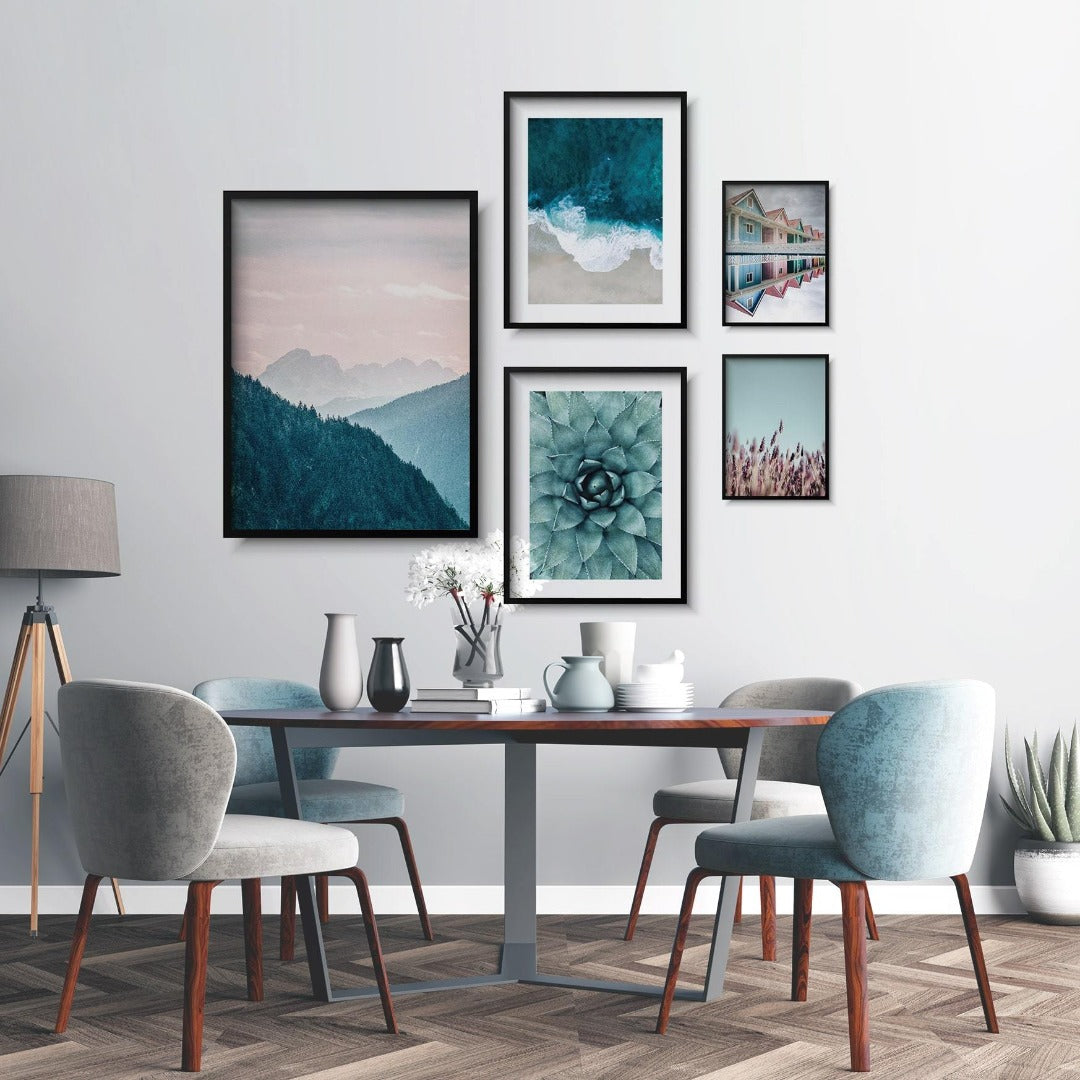 Nature Gallery Wall set, pink and blue pastel color posters, cactus flower, sea and mountain landscape
