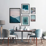 Load image into Gallery viewer, Nature Gallery Wall set, pink and blue pastel color posters, cactus flower, sea and mountain landscape