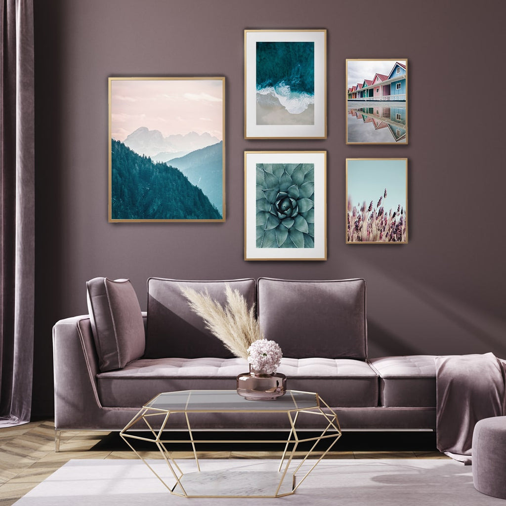 Nature gallery wall set of 5 photography prints in light blue and pink colour. Including sea print, cactus flower, mountain landscape colourful house and pink field.