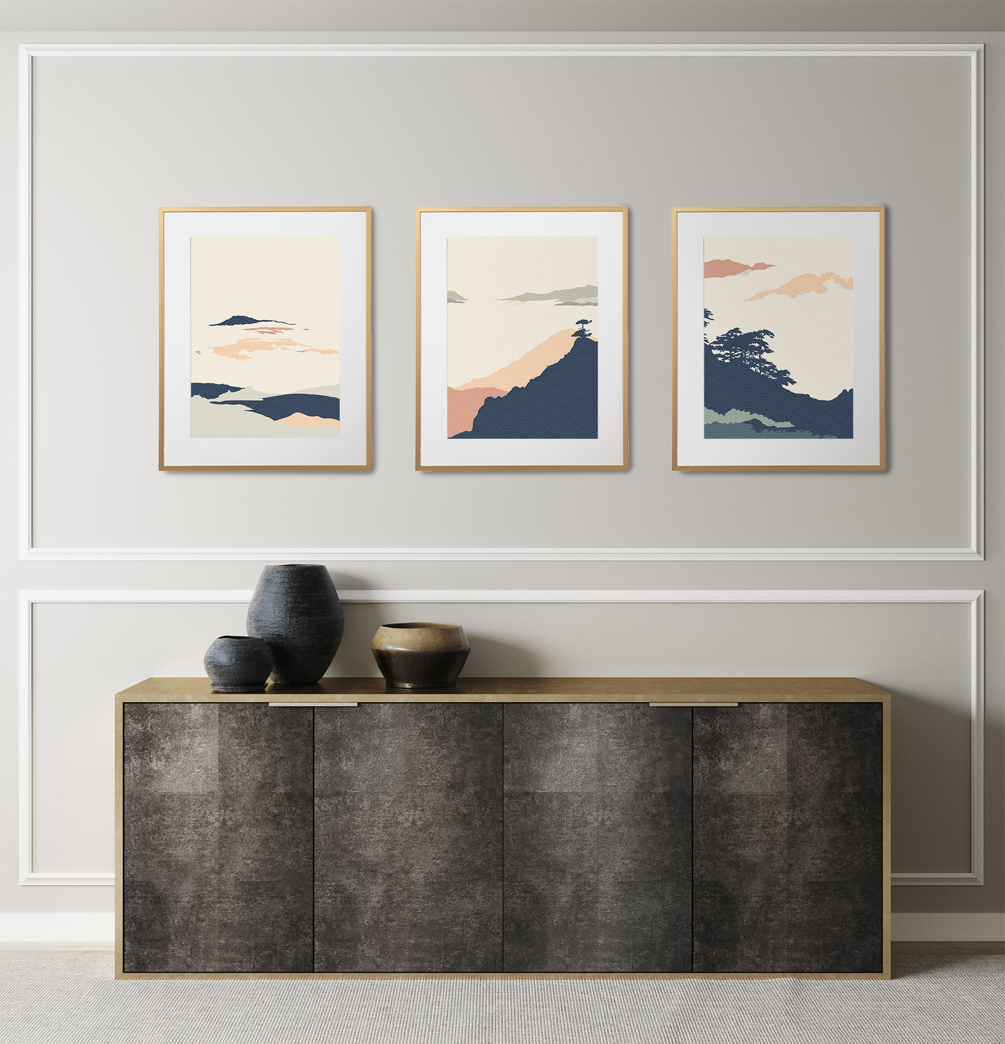 Pastel color Japanese art print, minimalist poster set of 3