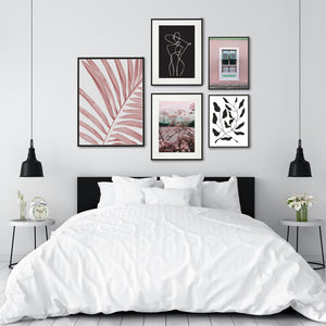 Pink summer gallery wall poster set for bedroom decor