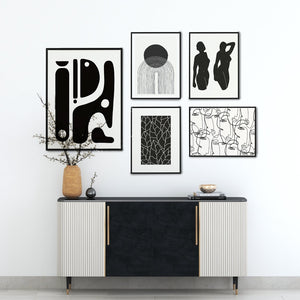 Gallery wall Scandinavian black and white print set of 5