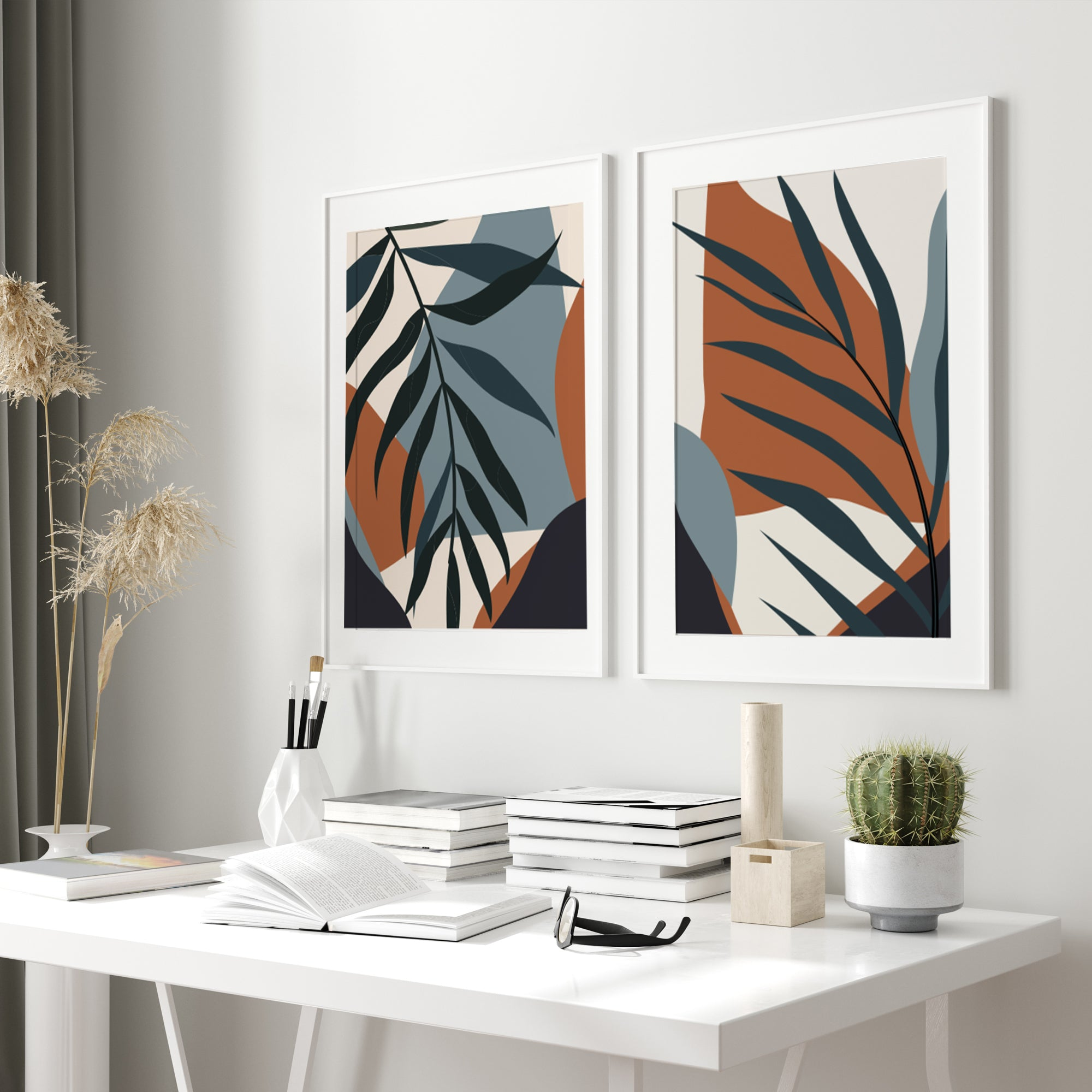 Palm tree print, minimalist Scandinavian poster set of 2, neutral earth tone colors