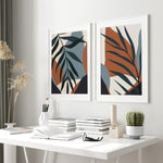 Load image into Gallery viewer, Palm tree print, minimalist Scandinavian poster set of 2, neutral earth tone colors