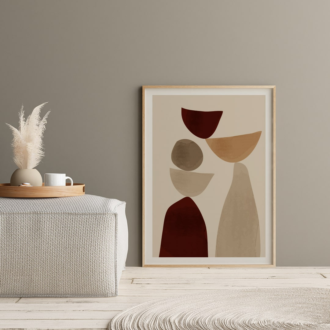 Minimalist Scandinavian Art Print Poster, Beige and Brown Abstract Shapes