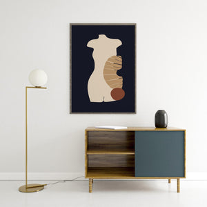 Abstract bohemian poster, dark blue and beige