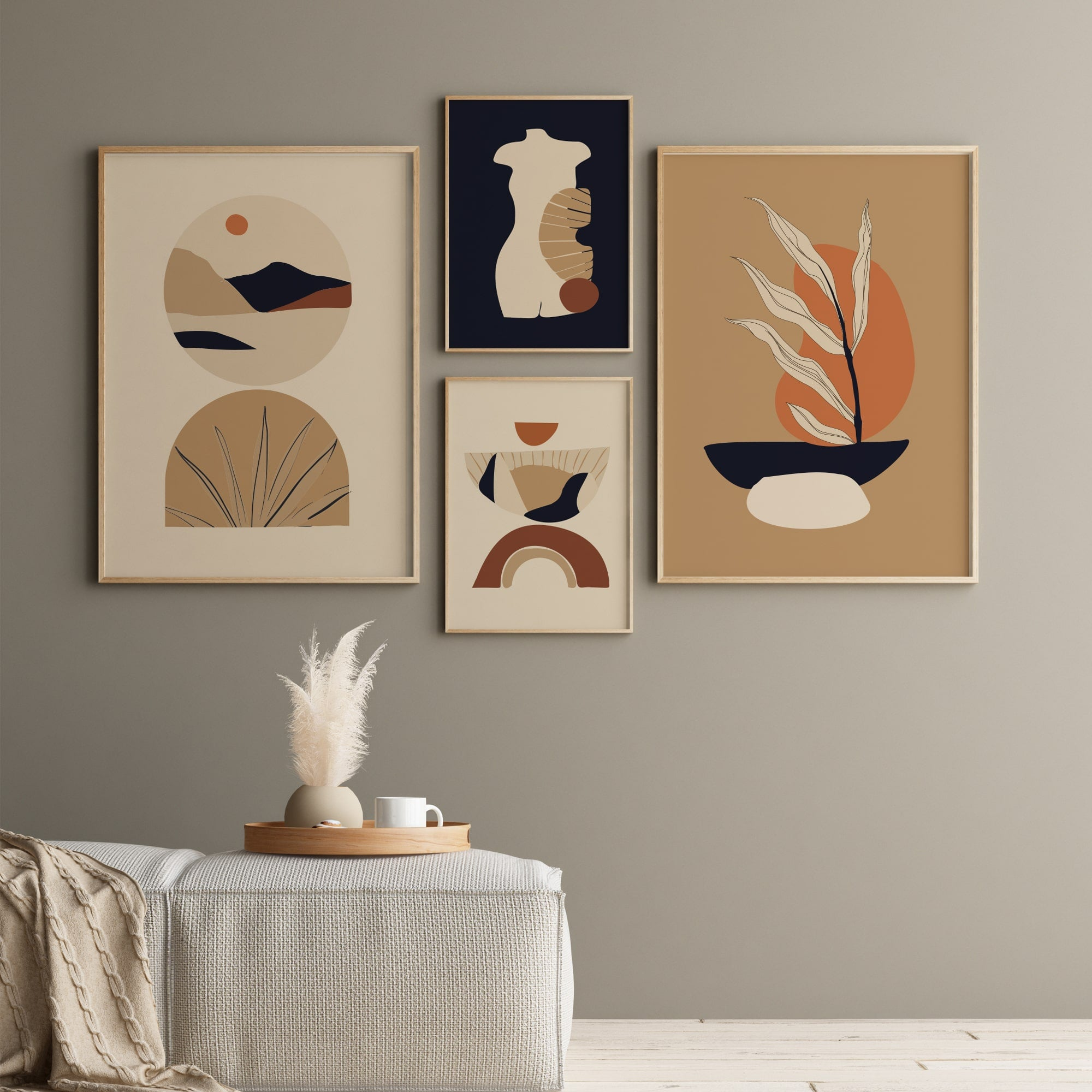 Bohemian gallery wall set, minimalist posters beige color