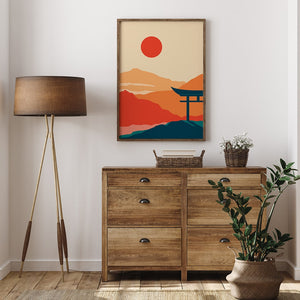 Minimalist Japanese poster sun orange and red