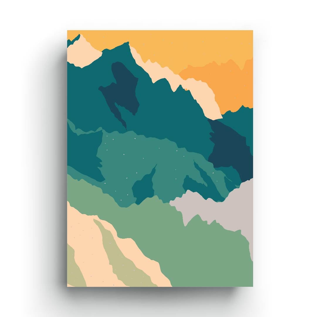 Green mountain minimalist graphic print art abstract poster