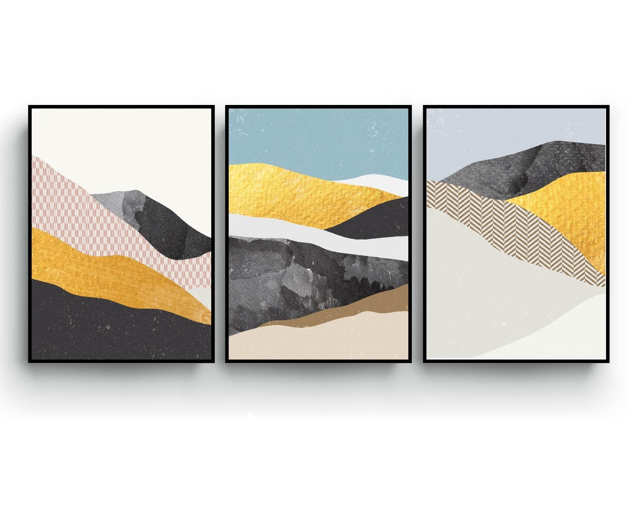 Abstract art print set of 3, texture pattern gold, light blue