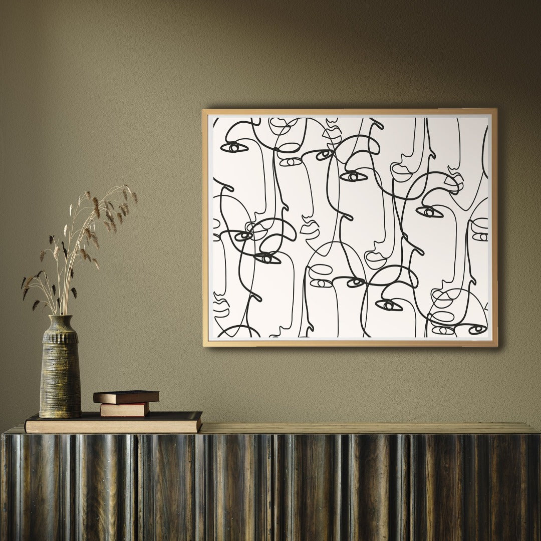 Line art print with abstract faces, minimalist Scandinavian design