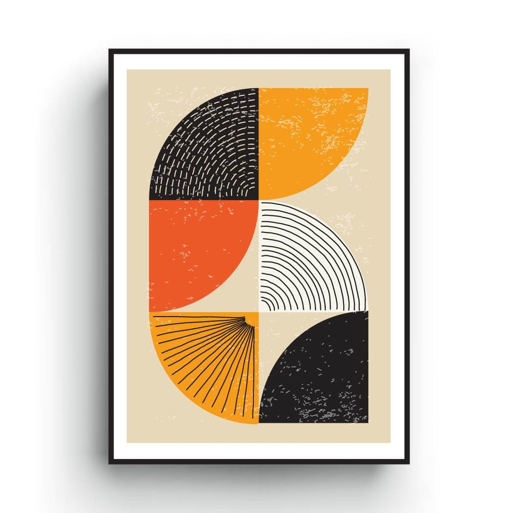 Abstract art print, geometric shapes, orange black and yellow color