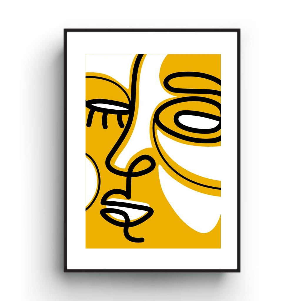 Abstract contemporary art print of a line art face, inspired by Picaso paintings