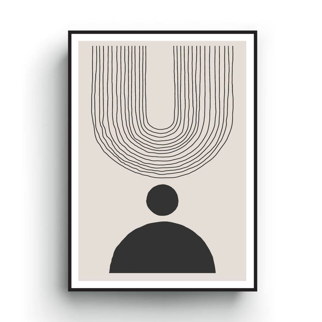 Line art minimalist print of abstract shapes