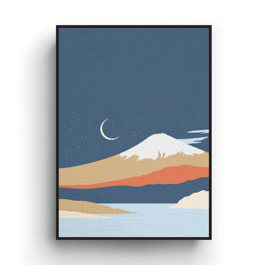Fuji pastel color night print art, minimalist bohemian poster