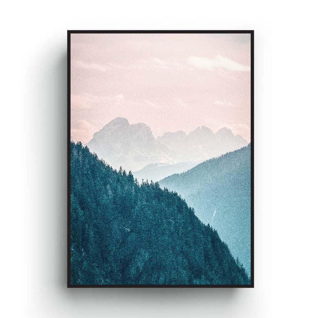 Mountain landscape poster, pastel color print art, pink and blue