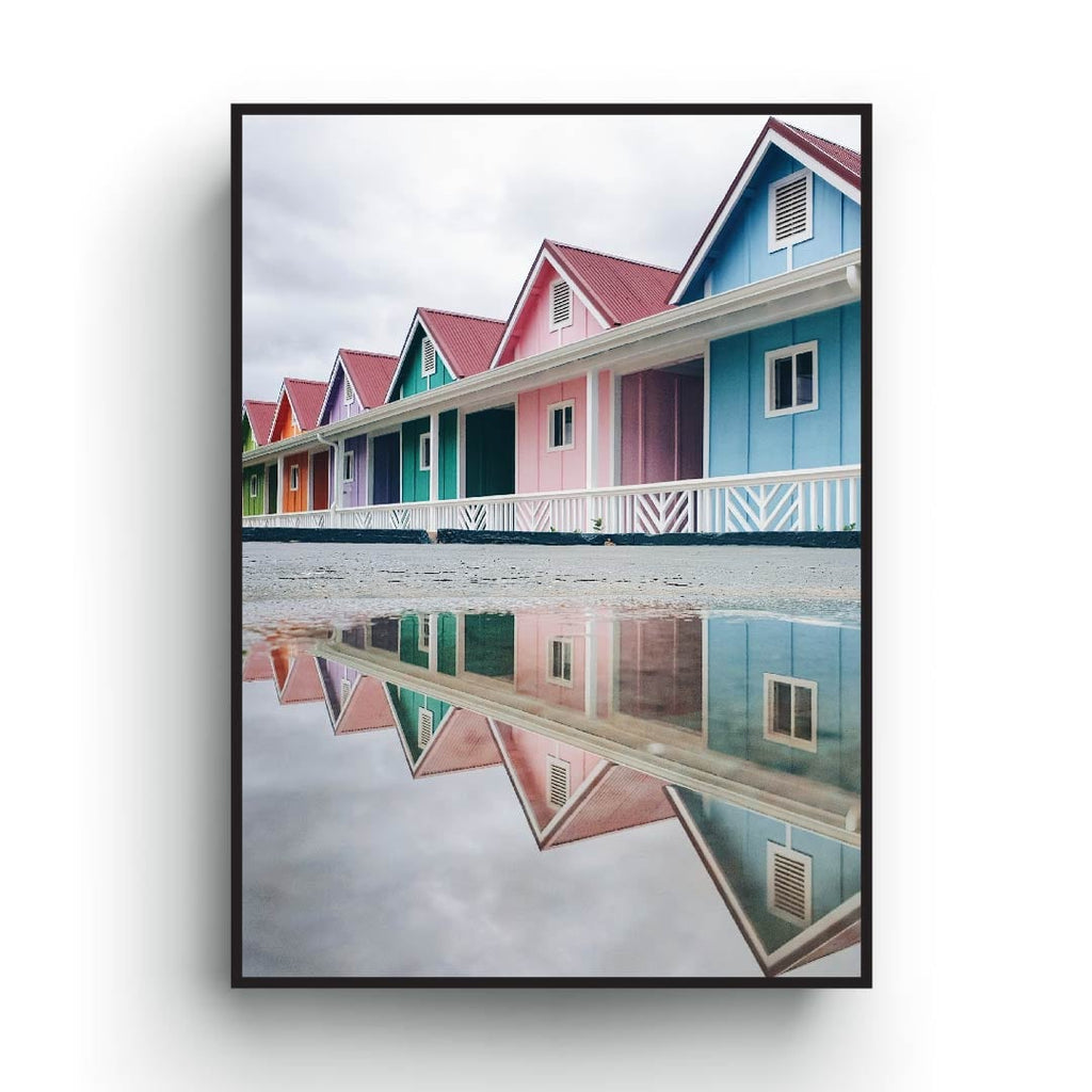 Pastel color poster of architecture Scandinavian