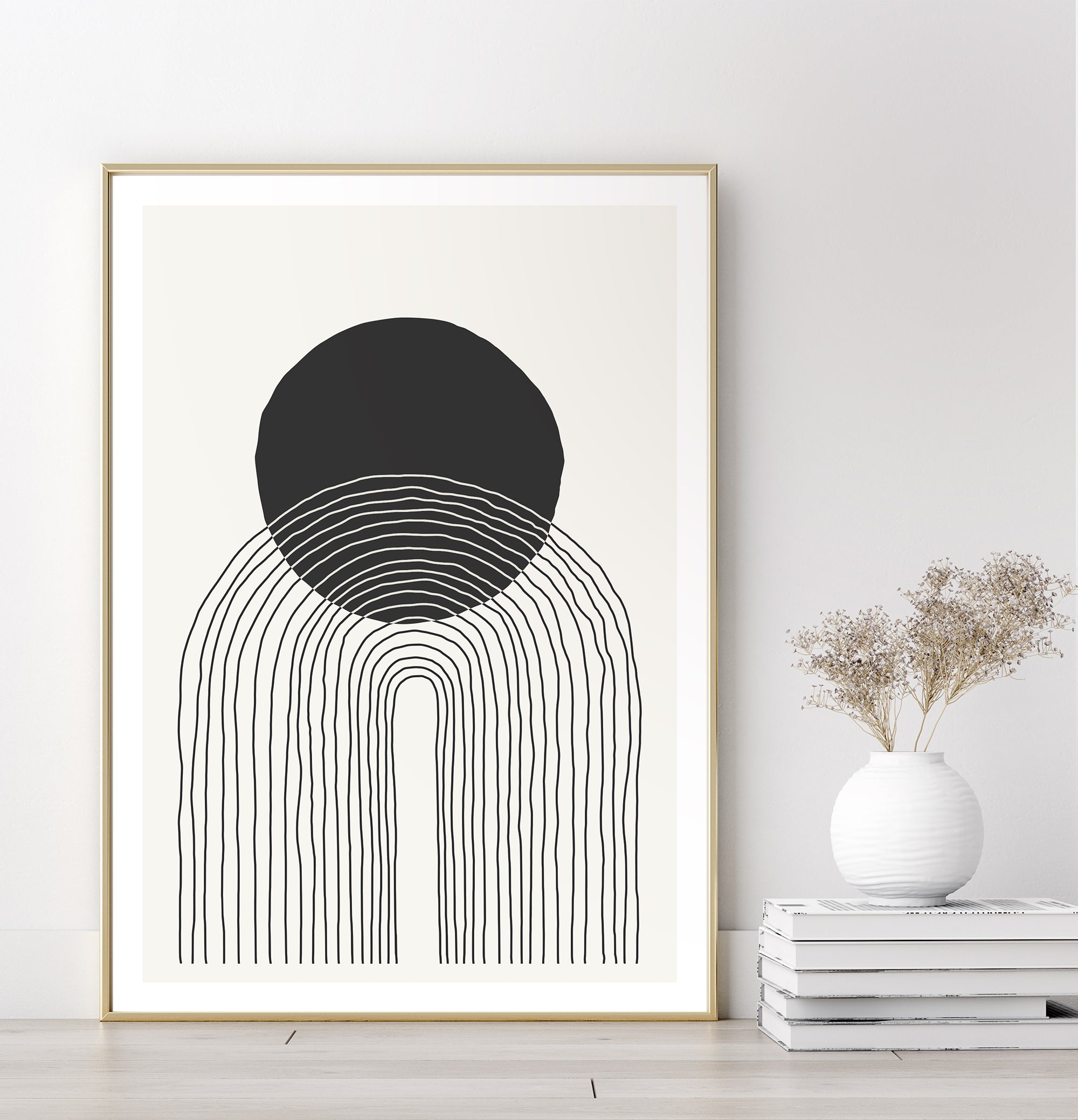 Minimalist line art poster of black and white graphic shapes