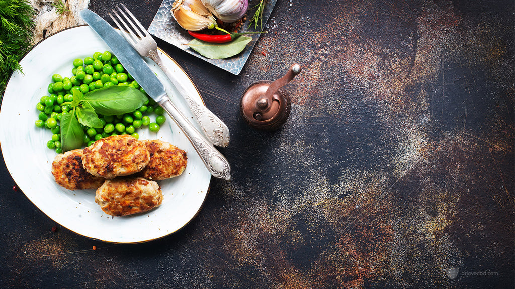 overhead shot of simple dining healthy food nutritious meal chicken and peas