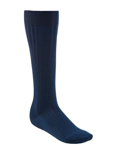 Over-The-Calf Cotton Socks - Blue - onlybrown