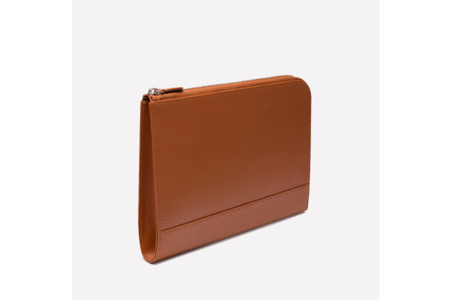 Capra Medium Zip Clutch - Tan