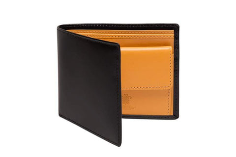Bridle Hide Billfold With Coin Pocket - Black (Personalisation)