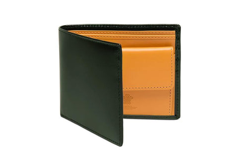 Bridle Hide Billfold With Coin Pocket - Green (Personalisation)