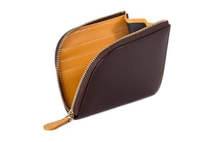 Bridle Zipped Curved Wallet - Nut - onlybrown