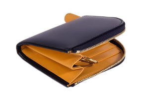 Bridle Navy Zipped Wallet with Key Strap - onlybrown