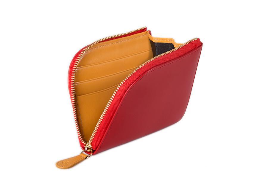 Bridle Zipped Curved Wallet - Red - onlybrown