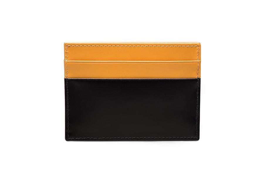 Bridle Hide Flat Card Case - Black (Personalisation)
