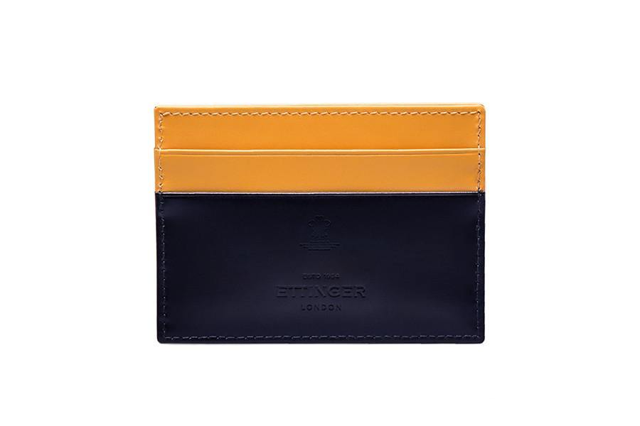 Bridle Hide Flat Card Case - Navy (Personalisation) - onlybrown