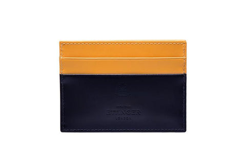 Bridle Hide Flat Card Case - Navy (Personalisation)