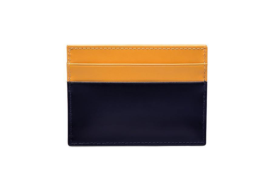 Bridle Hide Flat Card Case - Navy - onlybrown